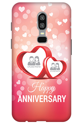 3D-OnePlus 6 Floral Hearts Anniversary Mobile Cover