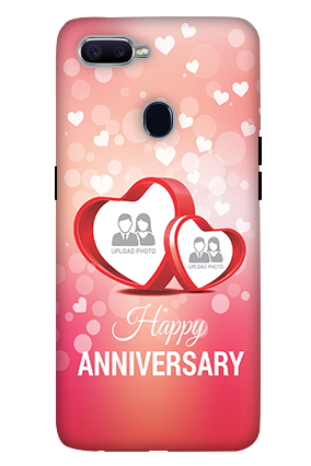 3D-Oppo F9 Floral Hearts Anniversary Mobile Cover