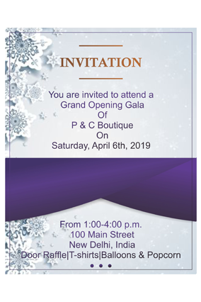 Silver Flower with Purple Potrait Event Invitation Card