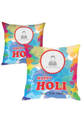 Colorful Abstract Personalized Holi Cushion Cover