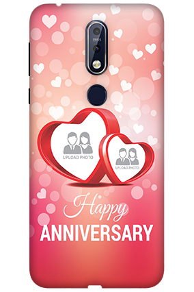 3D Nokia 7.1 Floral Hearts Anniversary Mobile Covers