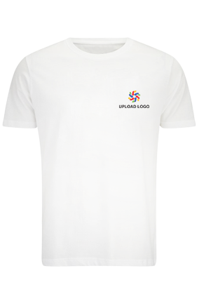 Create Your Own Logo White Cotton Crew Neck T-Shirt