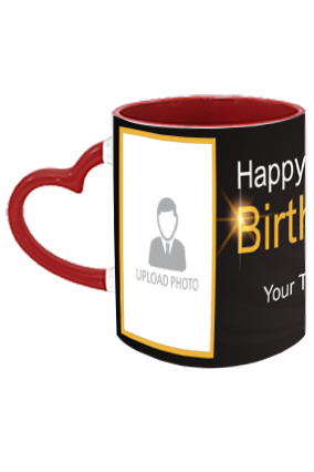 Black and Gold Trendy Birthday Heart Handle Inside Maroon Redish Mug