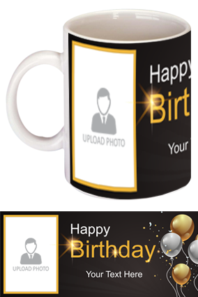 Black and Gold Trendy Birthday Bone China Mug