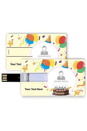 Cake and Balloon Birthday Credit Card Pen Drive