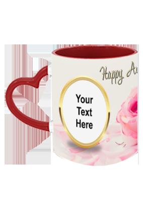 Pink Rose Customized Anniversary Heart Handle Inside Maroon Redish Mug
