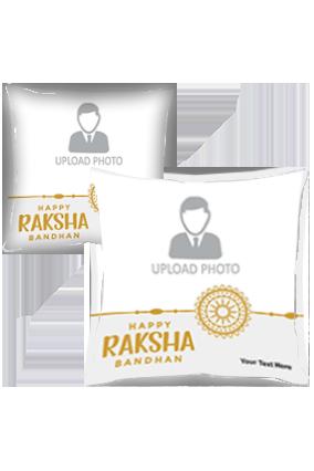 Gold and White Photo Printed Raksha Bandhan Cushion Cover