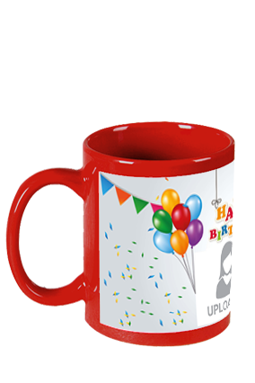 Printed  Happy Birthday Red Patch Mug