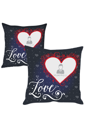 Designer Heart Personalized Printed Cushion Cover