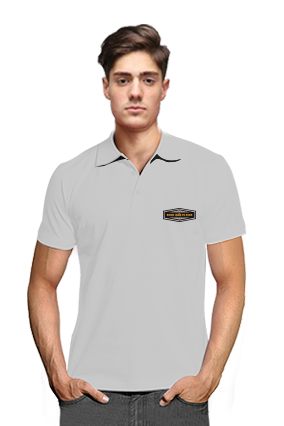 Born to Ride Gray Cotton Polo T-Shirt