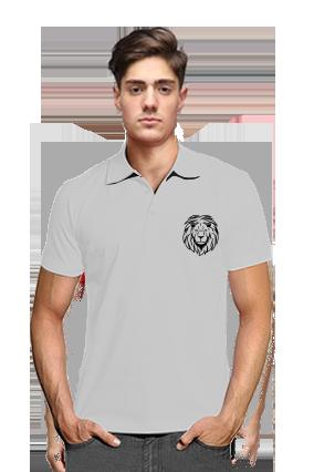 Personalized Lion Gray Cotton Polo T-Shirt