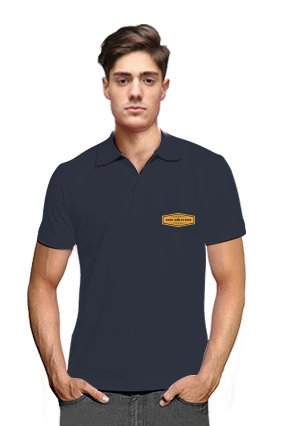 Born to Ride Navy Blue Cotton Polo T-Shirt