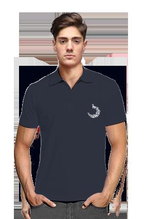 Customized Pecock Navy Blue Cotton Polo T-Shirt