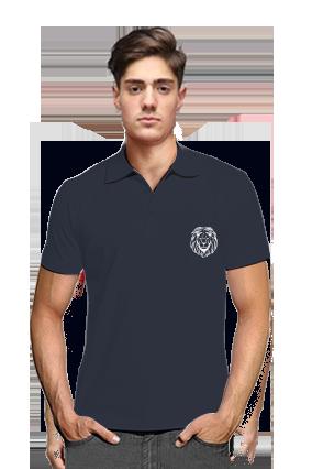 Lion Navy Blue Cotton Polo T-Shirt