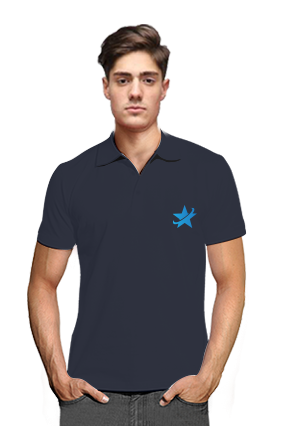 Starred Navy Blue Cotton Polo T-Shirt