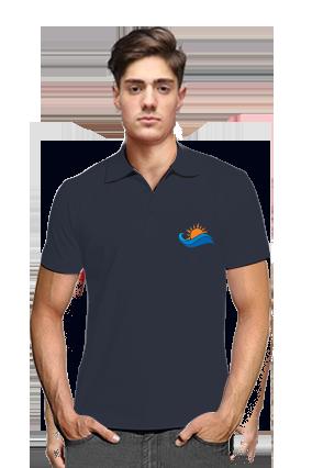 Rainbow Navy Blue Cotton Polo T-Shirt