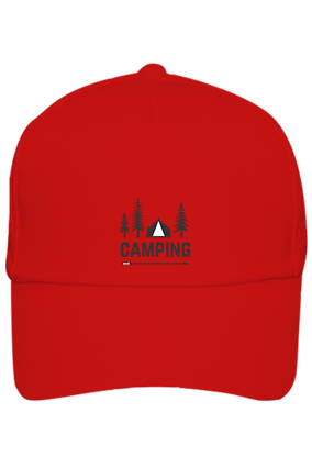 Camping in Woods Cotton Red Cap