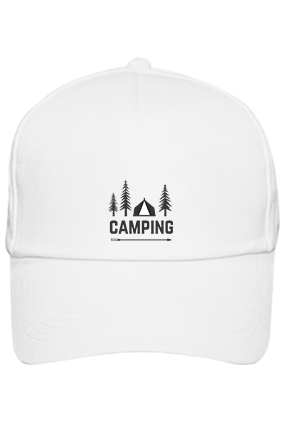 Camping in Woods Cotton White Cap