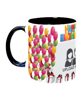 Balloons Inside Black Mug With Black Handle
