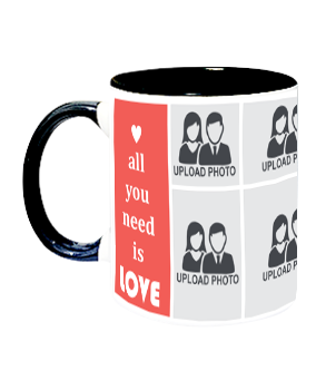 Love Needed Inside Black Mug With Black Handle