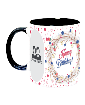 Customized Pattern Inside Black Mug With Black Handle
