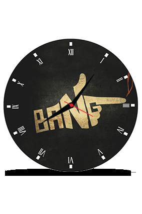 Black Bang Round MDF Clock