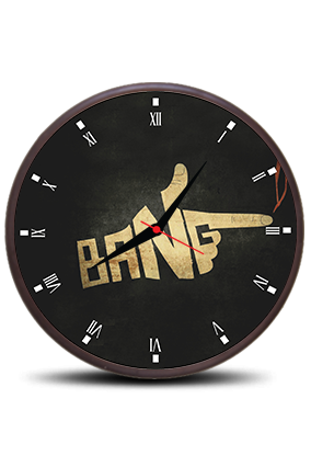 Black Bang Round Clock With Frame