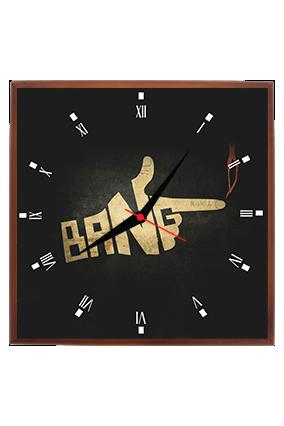 Black Bang Square Clock With Frame