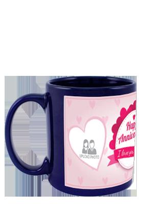 Anniversary Greetings Blue Patch Mug