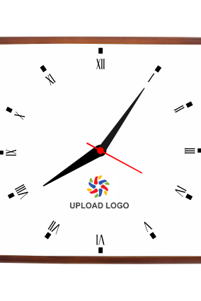 Upload Logo Square Wooden Wall Clock