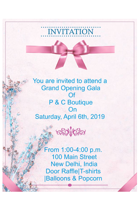 Floral Baby Pink  Potrait Event Invitation Card