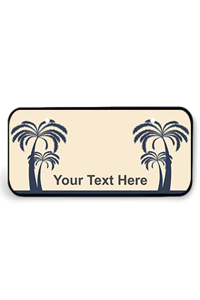 Palm Trees on Beach Wooden Nameplate