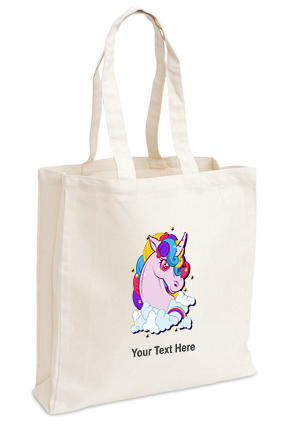 Customized Colorful Unicorn Imported Canvas Tote Bag