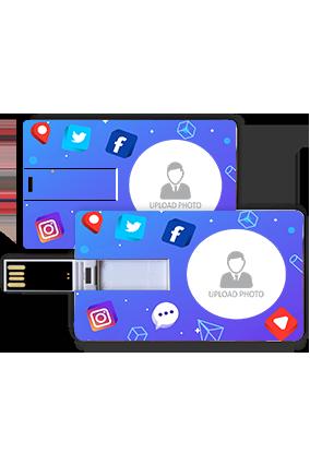Social Medai Theme Personalized Credit Card Pen Drive