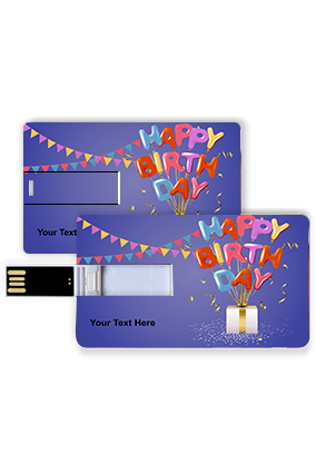 Triangle Colorful Flags Blue Birthday Credit Card Pen Drive