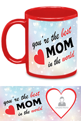 The Best MoM in The World Trendy Red Patch Mug