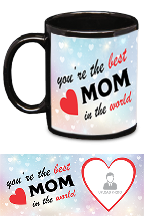 The Best MoM in The World Trendy Black Patch Mug