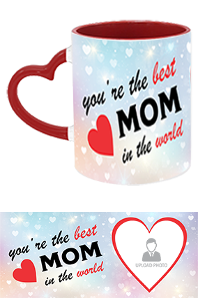 The Best MoM in The World Trendy Heart Handle Inside Maroon Mug