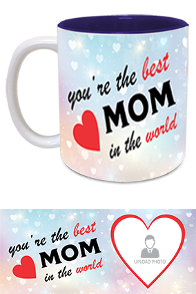 The Best MoM in The World Trendy Inside Blue Mug
