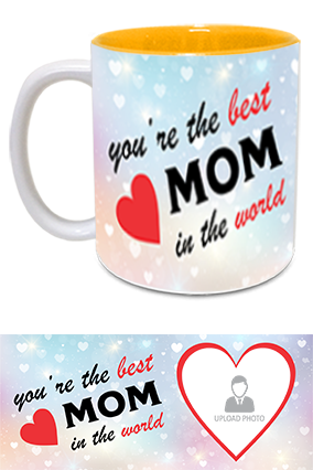 The Best MoM in The World Trendy Inside Yellow Mug