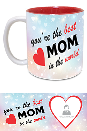The Best MoM in The World Trendy Inside Red Mug