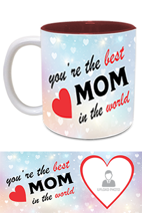 The Best MoM in The World Trendy Inside Maroon Mug