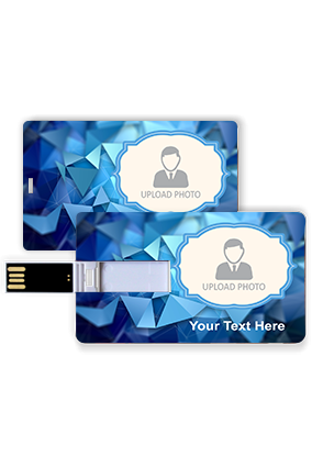 Photo Printed Blue Personalized Plastic Credit Card Pen Drive