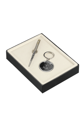 Parker Classic Stainless Steel Gold Trim Ball Pen Gift Set - Blue Ink, with Key Chain