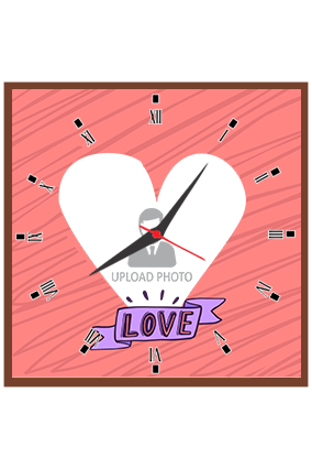Love with Custom Heart Shape Photo Square Clock