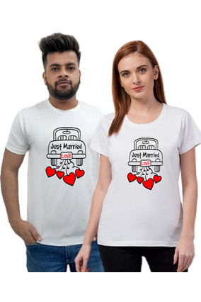 Matching Pair of Just Married Half Sleeve Couple T-Shirt