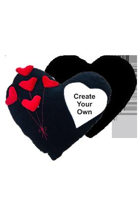 Create Your own Velvet Heart Shape Red & Black Cushion