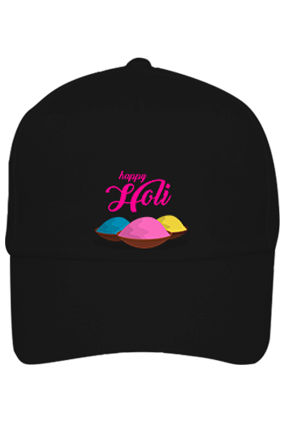 Colorful Gulal Personalized Holi Cotton Black Cap