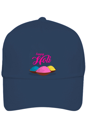 Colorful Gulal Personalized Holi Cotton Blue Cap