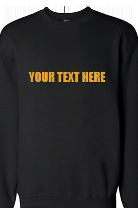 Custom Yellow Straight Text Print Black Sweatshirt